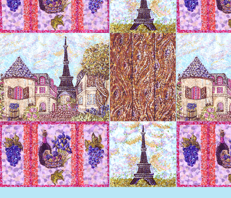 "Paris inspired pointillisms with landscape, wood planks, grapes and wine fabric design 42x36"" new 1 fabric by fabricatedframes on Spoonflower - custom fabric"