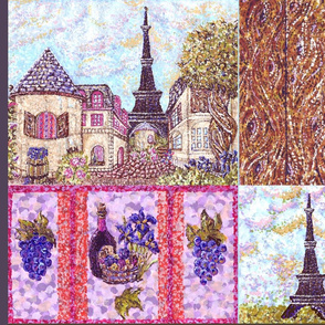 Paris inspired pointillisms with landscape, wood planks, grapes and wine fabric design 42x36&quot; new 2