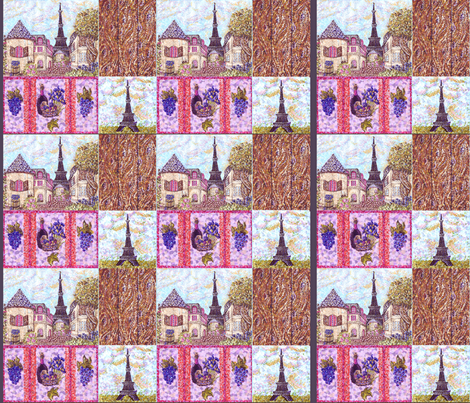 """Paris inspired pointillisms with landscape, wood planks, grapes and wine fabric design 42x36"""" new 3 fabric by fabricatedframes on Spoonflower - custom fabric"""
