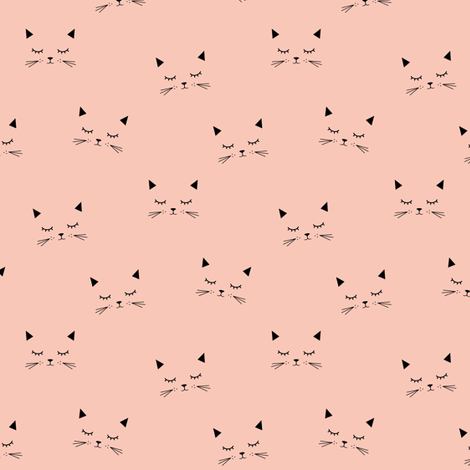 Cats - Coral (small) fabric by kimsa on Spoonflower - custom fabric