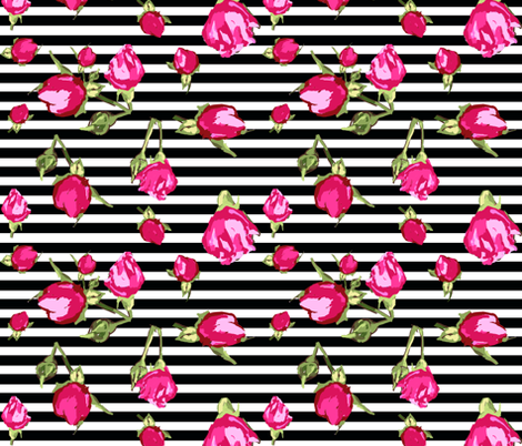 buds floral geopmetric stripe fabric by katarina on Spoonflower - custom fabric