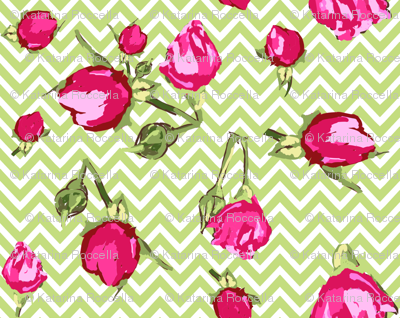 chevron buds roses floral