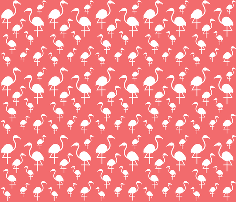 Flamingos in White on Dark Coral fabric by little_fish on Spoonflower - custom fabric