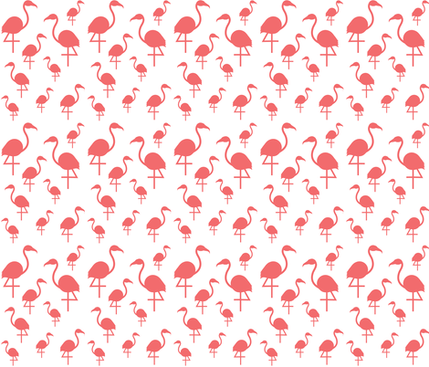 Flamingos in Dark Coral on White fabric by little_fish on Spoonflower - custom fabric