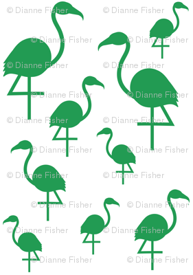 Flamingos in Kelly Green on White
