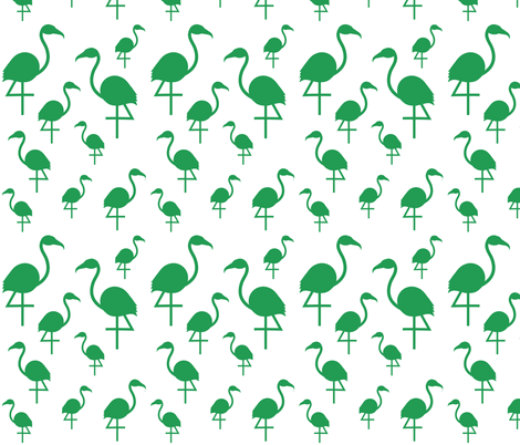 Flamingos in Kelly Green on White fabric by little_fish on Spoonflower - custom fabric