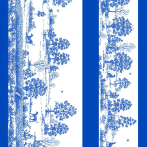Toile Greyhound Blue border panel
