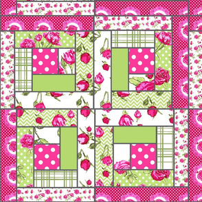 log cabin patchwork shabby chic roses
