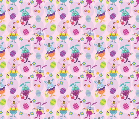 Rabbit Tales Pink fabric by edmillerdesign on Spoonflower - custom fabric