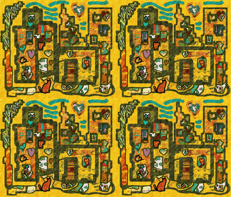 Heartbeat City in the Tropics fabric by anniedeb on Spoonflower - custom fabric