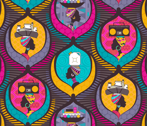 African Ladies (Please zoom for detail) fabric by zesti on Spoonflower - custom fabric