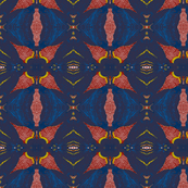 Night Bloomer, blue, red, goldenrod - large