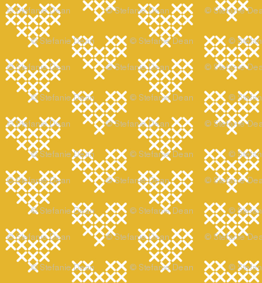 Cross Stitch Hearts - Yellow