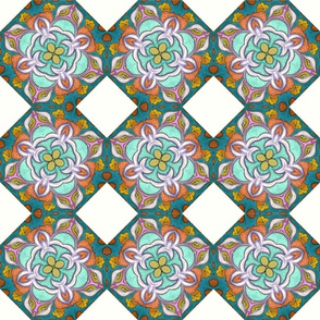 Fashionable Foxy European Teal and Rust Floral Mandala