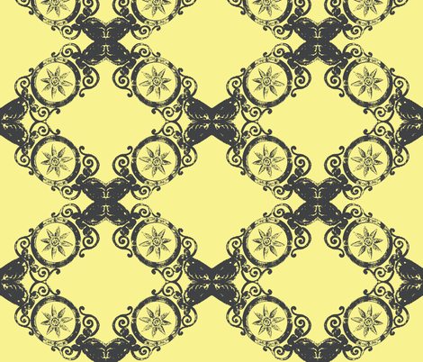 Ornate Pewter in Yellow fabric by susaninparis on Spoonflower - custom fabric