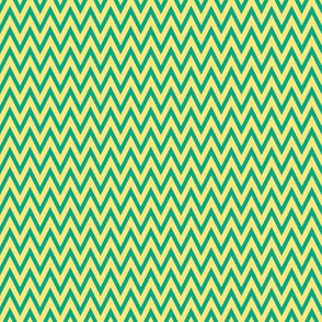 Custard and Teal Chevron