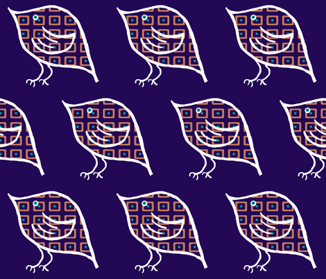 Birdie on Indigo fabric by anniedeb on Spoonflower - custom fabric