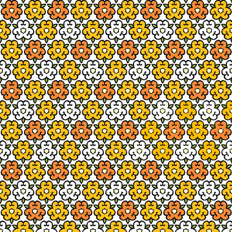 Orange Flowers fabric by aussienisi on Spoonflower - custom fabric