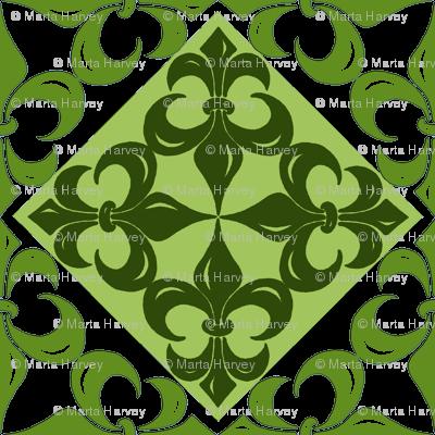 Fleur-de-Lis pattern - in greens (2)