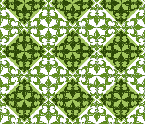Fleur-de-Lis pattern - in greens (2) fabric by martaharvey on Spoonflower - custom fabric