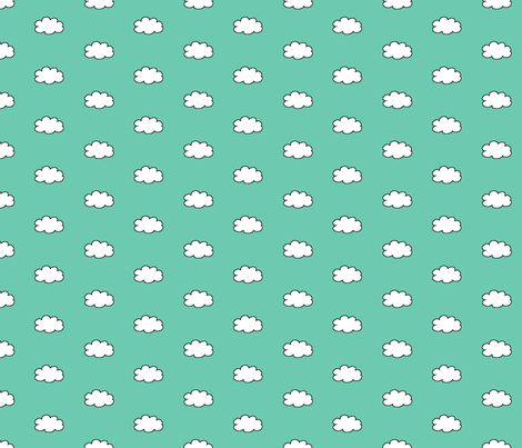 Cloudy Day in Teal fabric by gwennypenny on Spoonflower - custom fabric