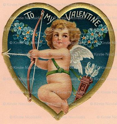 Pink Golden Heart Valentine Cherub