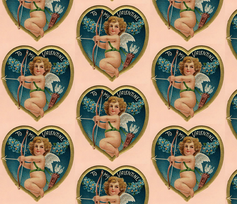 Pink Golden Heart Valentine Cherub fabric by adeline_country_cottage on Spoonflower - custom fabric