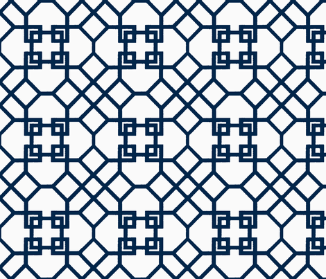 Lattice- Navy/White-Large fabric by melberry on Spoonflower - custom fabric