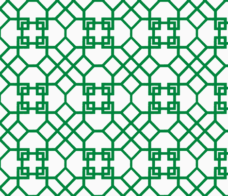 Lattice- Green/White-Large fabric by melberry on Spoonflower - custom fabric