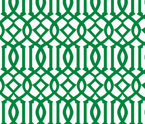 Imperial Trellis-Green/White-Reverse-Large fabric by melberry on Spoonflower - custom fabric