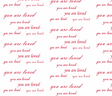 you are loved red script fabric by ali*b on Spoonflower - custom fabric