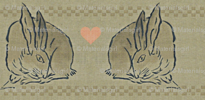 Amorous Spring Hares - taupe, charcoal & salmon pink hearts.  Valentines Day.