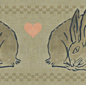 Amorous Spring Hares - taupe, charcoal &amp; salmon pink.  Valentines Day.