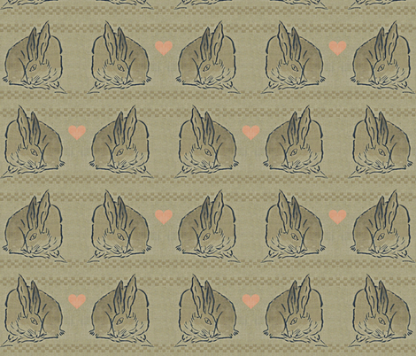 Amorous Spring Hares - taupe, charcoal & salmon pink hearts.  Valentines Day. fabric by materialsgirl on Spoonflower - custom fabric