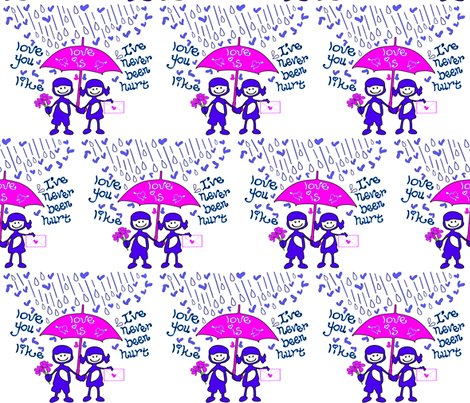 LoveRain Cute Couple fabric by cutiecat on Spoonflower - custom fabric