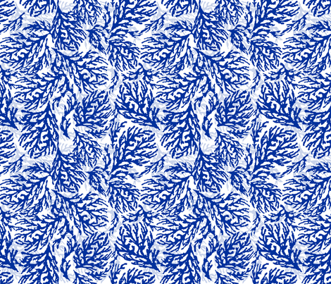 Coral Cobalt fabric by lulabelle on Spoonflower - custom fabric