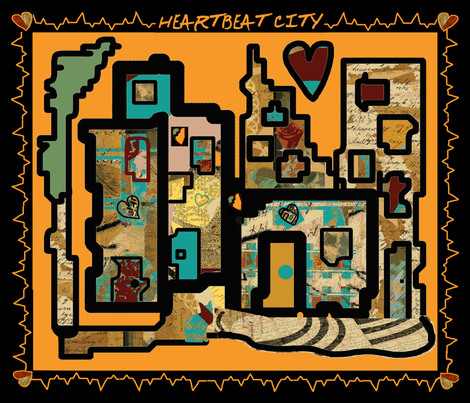 Heartbeat City Hot with an EKG (large scale repeat) fabric by anniedeb on Spoonflower - custom fabric