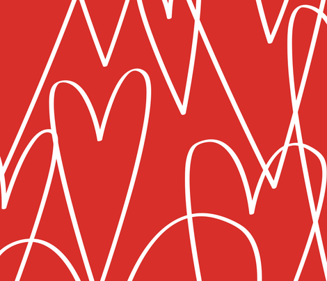 Big Hearts in Red by Friztin fabric by friztin on Spoonflower - custom fabric