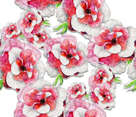 Flowers in pink fabric by milenagaytandzhieva on Spoonflower - custom fabric