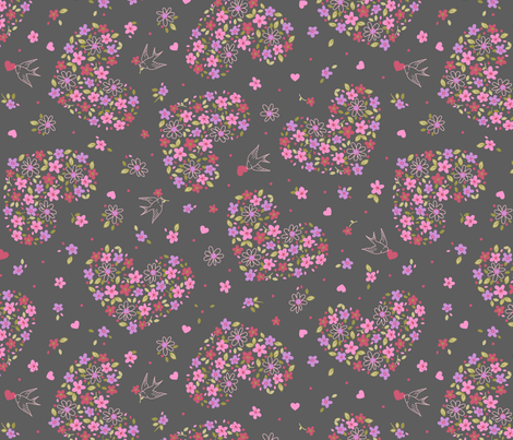 Floral Valentine fabric by alissecourter on Spoonflower - custom fabric