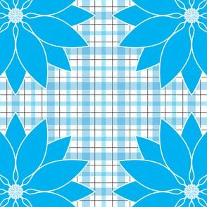 Large_Aqua_Lotus_Plaid