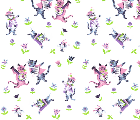 banjo cats fabric by debi_birkin on Spoonflower - custom fabric