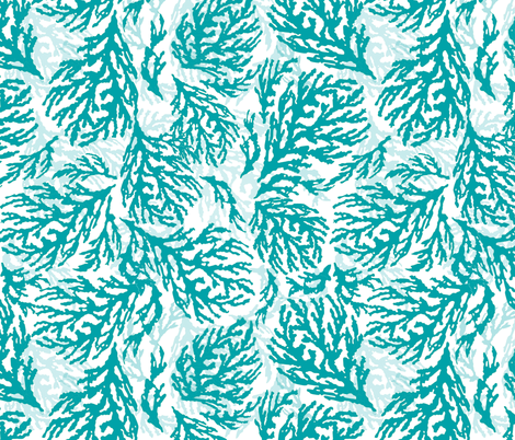 Coral Turquoise fabric by lulabelle on Spoonflower - custom fabric