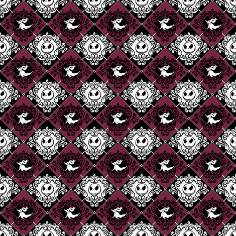 Jack Damask Purple Nightmare Before Christmas fabric by kyatastic on Spoonflower - custom fabric