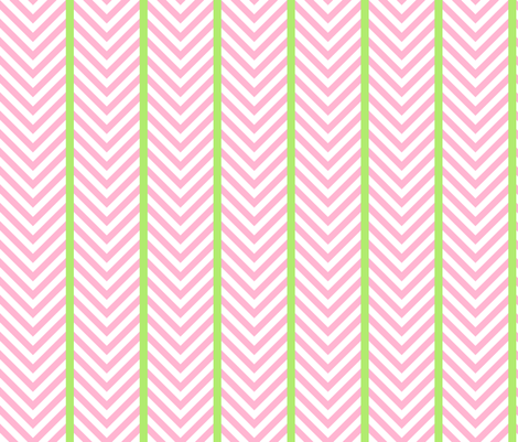 Pink Chevrons with Leaf Green Stripes fabric by fireflower on Spoonflower - custom fabric