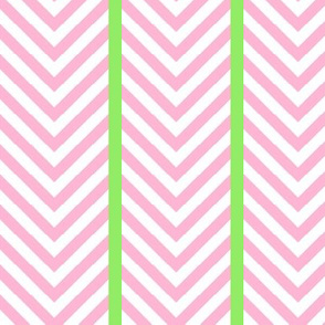 Pink Chevrons with Leaf Green Stripes