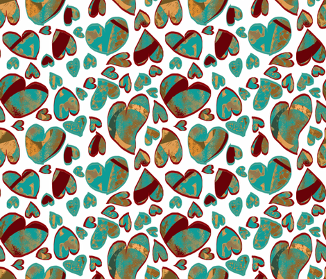 Tossed Hearts fabric by anniedeb on Spoonflower - custom fabric