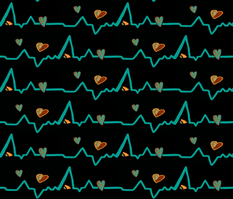 Heartbeat writ in turquoise fabric by anniedeb on Spoonflower - custom fabric