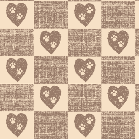 Puppy Love -  two paws checkered, pink & brown check