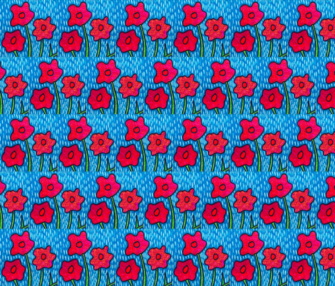 Poppies in the Rain 2 fabric by sarahdesigns on Spoonflower - custom fabric